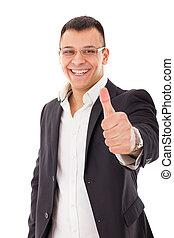 projection, haut, confiant, pouces, homme affaires, lunettes
