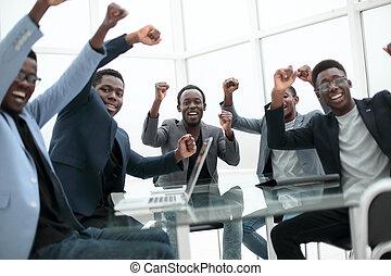 projection, heureux, leur, reussite, business, geste, équipe