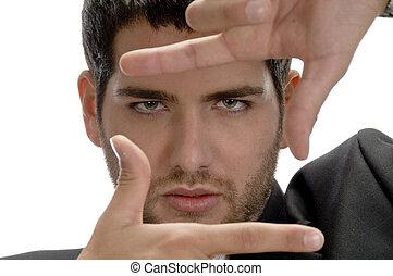 projection, homme, encadrement, geste, main