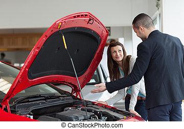 projection, homme, moteur, voiture