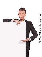 projection, homme, planche, business, jeune