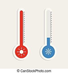 projection, illustration, ou, équipement, chaud, vecteur, fond, thermomètre, temps, blanc, froid