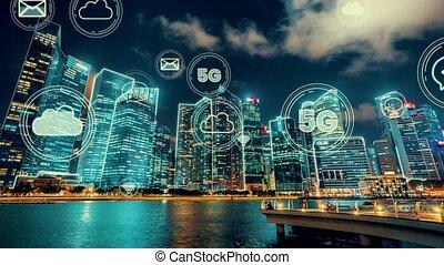projection, intelligent, graphique, globalisation, numérique, réseau, résumé, connexion, ville