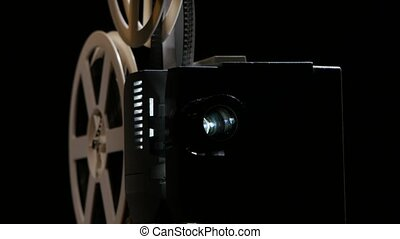 Projection lens in which changes the picture. Studio black background