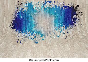 projection, lumière bleue, éclaboussure