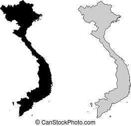 projection., map., vietnam, noir, white., mercator