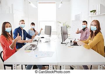 projection, masques, business, pouces, équipe soignant, haut