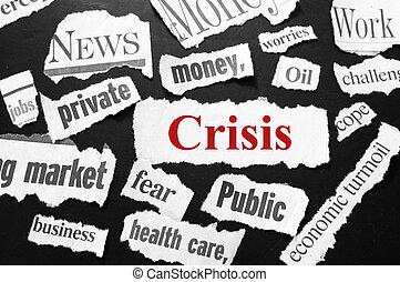 projection, mauvaises nouvelles, journal, gros titres, crise, rouges