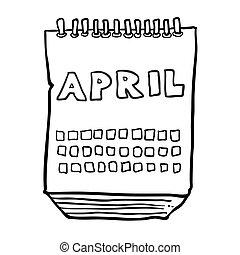 projection, mois, avril, noir, freehand, dessiné, calendrier...