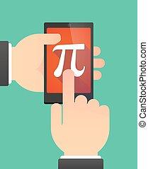 projection, nombre, téléphone, mains, utilisation, pi, symbole