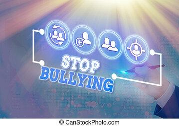 projection, note, bullying., baston, arrêt, ceci, éliminer, ...