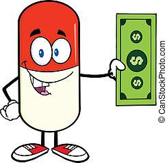 projection, note, dollar, capsule, pilule