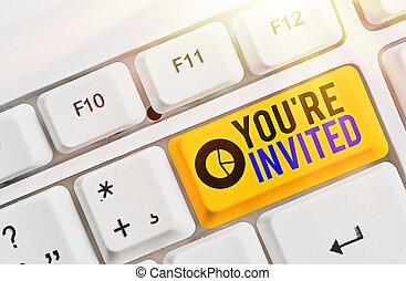 projection, note, invited., joindre, être, guest., showcasing, business, s'il vous plaît, accueil, re, vous, célébration, notre, écriture, nous, photo