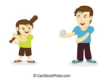 projection, père, ensemble, fils, liaison, base-ball, entre, ils., fort, jouer