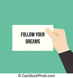 projection, papier, suivre, ton, rêves, homme