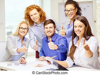 projection, papiers, haut, créatif, pouces, équipe