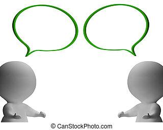 projection, parole, caractères, commérage, bulles, discussion, 3d