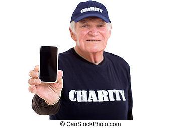 projection, personnes agées, téléphone, charité, intelligent, volontaire