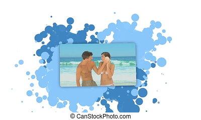 projection, plage, femme, couple