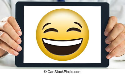 projection, rire, laptopscreen, smiley