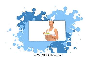 projection, sala, femme mange