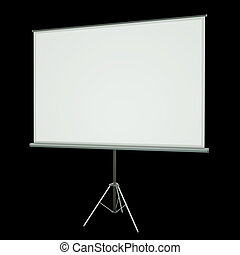 Projection screen - Blank projection screen over black...