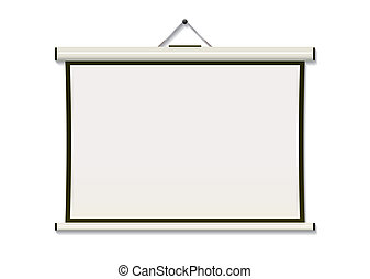 Projection screen hang - White projection screen hanging...