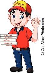 projection, signe, ok, pizza, deliveryman