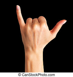 projection, signe, surfeur, shaka, main femelle, ou