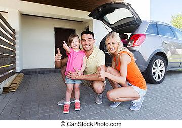 projection, stationnement, pouces, voiture famille, heureux...