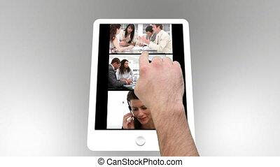 projection, tablette, animé, informatique