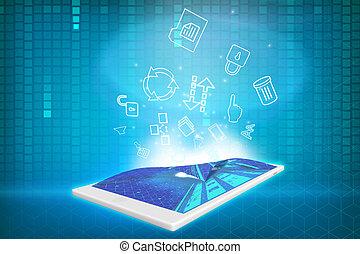 projection, tablette, icônes