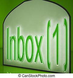 projection, une, inbox, courrier, signe, électronique