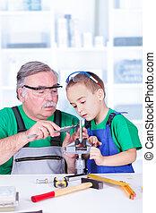 projection, vernier, calibre, petit-enfant, grand-père