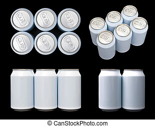 Four projections (top, front, side and ortagnal) of a sixpack blank beverage cans.