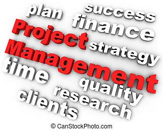 projectmanagement, in, rood, omringde, door, relevant,...