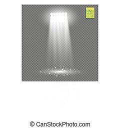 projector., concert, exposition, étincelles, lumière, éclairé, scène, effet, arrière-plan., vecteur, stade, projecteur, blanc, lueur, transparent, ray., salle