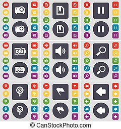 Projector, File, Pause, Charging, Sound, Magnifying glass, Lollipop, Flag, Arrow left icon symbol. A large set of flat, colored buttons for your design. Vector