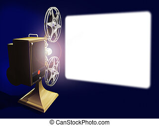 Projector film and white screen - Render of projector film...