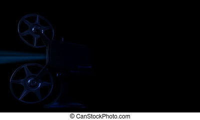 On 3d image render of film projector show move