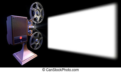 On 3d image render of film projector show move on screen