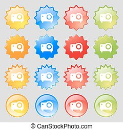 projector icon sign. Set from sixteen multi-colored glass buttons with place for text. Vector