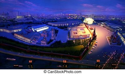 Projector light on night diorama Moscow - MOSCOW - JANUARY...