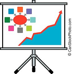 projector screen and business graph