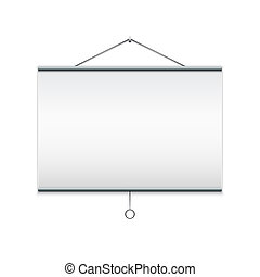 Projector screen. Isolated on white illustration.