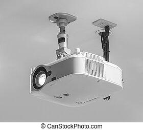 Projector hang on ceiling in meeting room