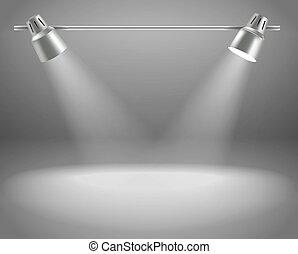 projectors., contenido, brillante, vector, plantilla, photorealistic, presentación, etapa