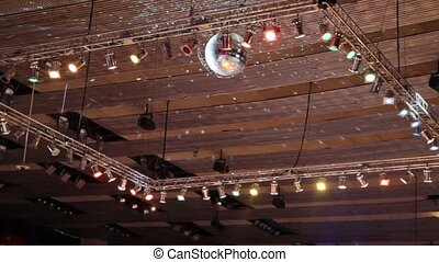 projectors on high ceilinged in entertainment center
