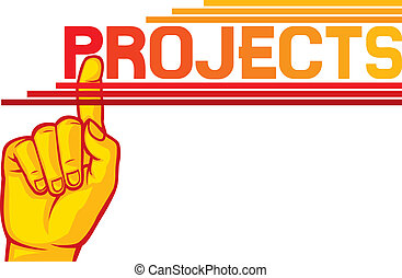 (projects), geste, main
