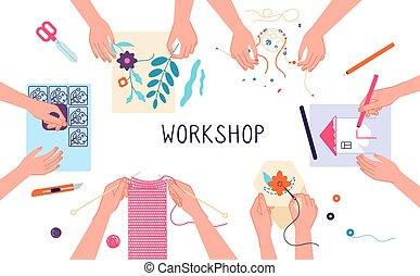 projects., illustration, workshop., freetime, teamwork., scrapbooking, laboratoire, fait main, bricolage, vecteur, créatif, gosses, métier, tricot, ou, dessin, conception